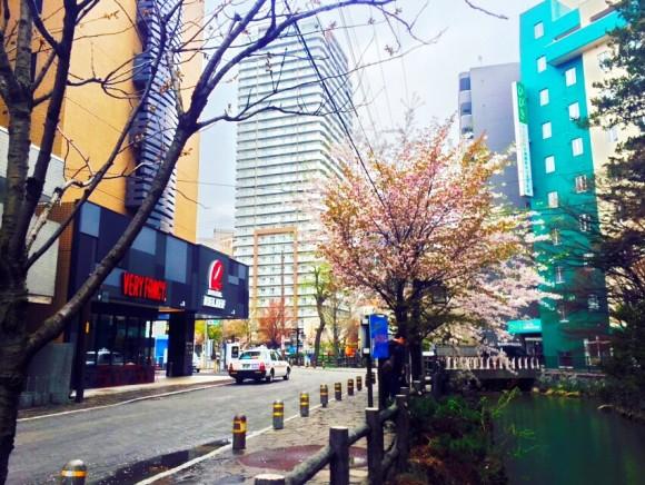 左の建物がホテルリリーフ札幌