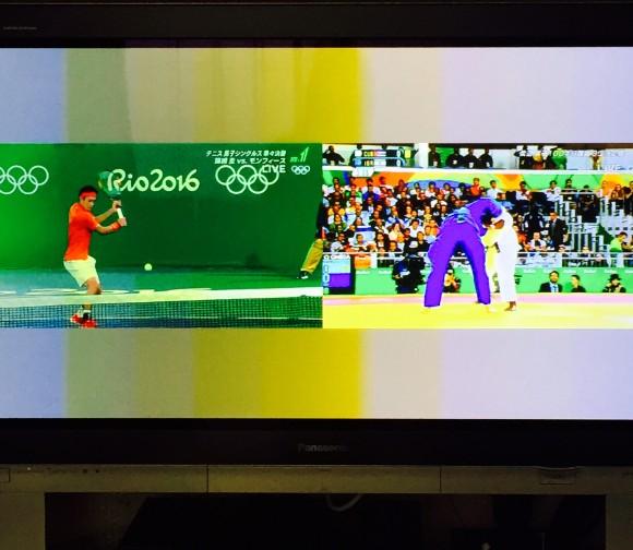 今朝の試合ふたつ。柔道とテニス。