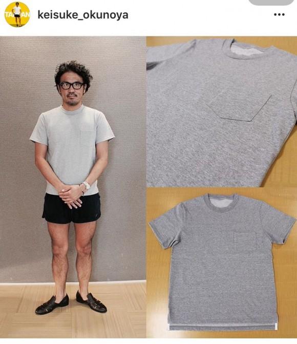 モデルは短パン社長さん。最新作のパックTシャツ。