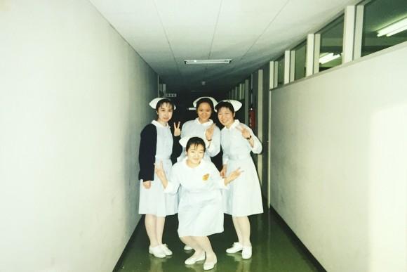 看護学生時代。まだナースキャップがあった時代。